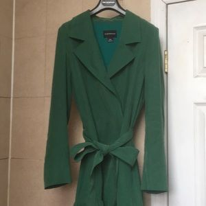 CLUB MONACO Green trench-like jacket w ruffle hem!